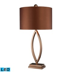 Dimond Lighting Coffee Plating LED Table Lamp with Drum Shade