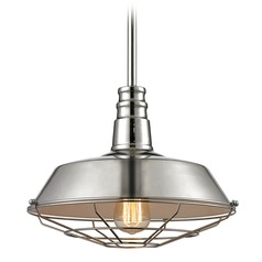 Elk Lighting Warehouse Pendant Polished Nickel Pendant Light with Bowl / Dome Shade