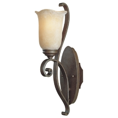 Feiss Lighting Sconce Wall Light with Beige / Cream Glass in Corinthian Bronze Finish WB1193CB