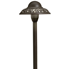 Kichler Path Light with White Glass in Bronze Finish