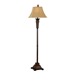Floor Lamp with Brown Shade in Weathered Teak Rattan Finish