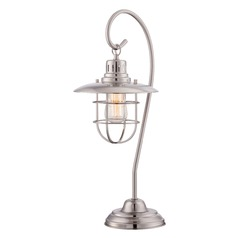 Lite Source Lighting Lanterna Polished Steel Table Lamp with Coolie Shade