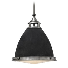 Hinkley Lighting Amelia Aged Zinc LED Mini-Pendant Light with Bowl / Dome Shade