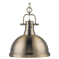 Golden Lighting Duncan Aged Brass Pendant Light with Bowl / Dome Shade