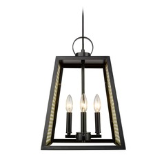 Abbott 4 Light Pendant in Black with Satin Brass Mesh Panels