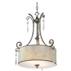 Crystal Chandelier with Beige / Cream Mica Shade in Mottled Silver