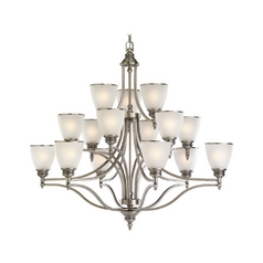 Sea Gull Lighting 15-Light Chandelier with White Glass in Antique Brushed Nickel