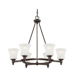 Chandelier with White Glass in Copper Bronze Patina Finish