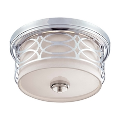 Modern Flushmount Light with Grey Shade in Polished Nickel Finish