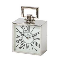 Square Roman Numeral Clock in Polished Nickel Finish