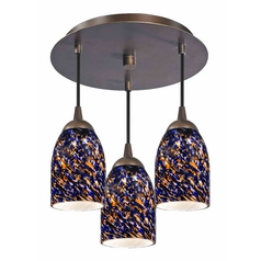 3-Light Semi-Flush Ceiling Light - Bronze Finish