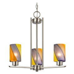 Chandelier with Art Glass in Satin Nickel Finish - 3-Lights