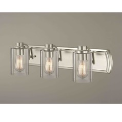 Industrial 3-Light Bathroom Light in Satin Nickel