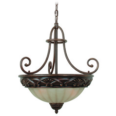 Jeremiah Barcelona Aged Bronze Pendant Light with Bowl / Dome Shade