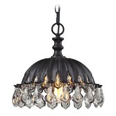 Elk Lighting Zuella Matte Black Pendant Light with Bowl / Dome Shade