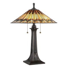 Tiffany Glass Table Lamp Bronze 19.5-Inch Wide by Quoizel Lighting