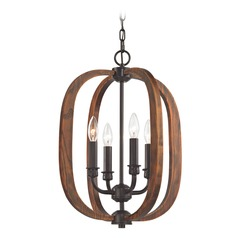 Elk Lighting Wood Arches Oil Rubbed Bronze, Red Oak Pendant Light