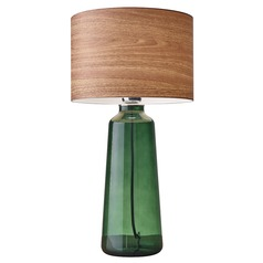 Adesso Home Jade Green Painted Glass Table Lamp with Drum Shade