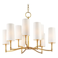 Modern Chandelier with White Shades in Aged Brass Finish