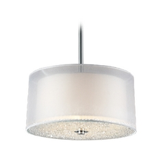 Modern Drum Pendant Light with White Shades in Polished Chrome Finish