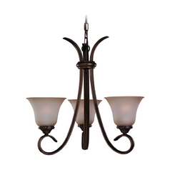 Mini-Chandelier with Beige / Cream Glass in Russet Bronze Finish