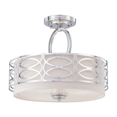 Modern Semi-Flushmount Light with Grey Shade in Polished Nickel Finish