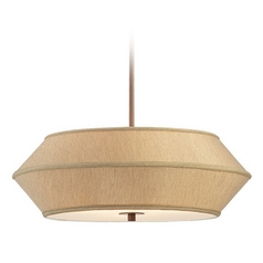 22-Inch Wide Three-Light Pendant with Light Brown Shade