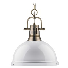 Golden Lighting Duncan Aged Brass Pendant Light
