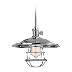 Hudson Valley Lighting Heirloom Polished Nickel Pendant Light with Bowl / Dome Shade