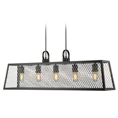 Abbott Linear Pendant in Black with Chrome Mesh Panels