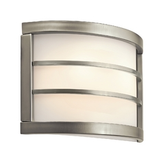 Kichler Lighting Kichler Modern Sconce Wall Light with White in Brushed Nickel Finish 10453NI