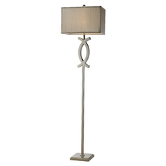 Modern Floor Lamp with Grey Shade in Polished Nickel Finish