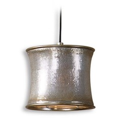 Metal Drum Shade Mini-Pendant with LED Bulb