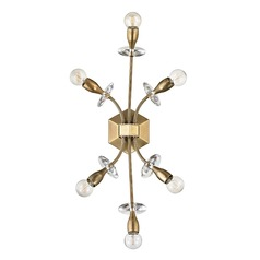 Mid-Century Modern Brass Sconce 6-Lt Cluster Light by Hudson Valley