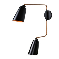 Alvar Matte Black with Antique Brass Inside Sconce by Kenroy Home
