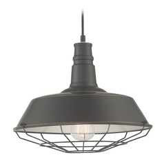 Lite Source Calvin Dark Bronze Pendant Light with Warehouse Shade