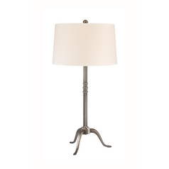 Table Lamp with Beige / Cream Paper Shade in Aged Silver Finish