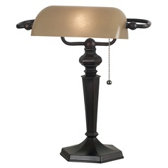 Piano / Banker Lamp with Amber Glass in Oil Rubbed Bronze Finish