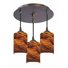 3-Light Semi-Flush Light with Cylinder Art Glass - Bronze Finish