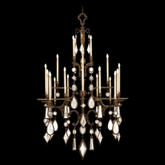 Fine Art Lamps Encased Gems Bronze Patina Crystal Chandelier