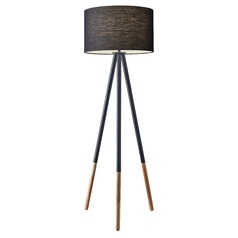Adesso Home Louise Black Painted Metal W. Wood Tips Floor Lamp with Drum Shade