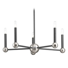 Mid-Century Modern Chandelier Graphite With Brushed Nickel Accents Foton by Progress Lighting