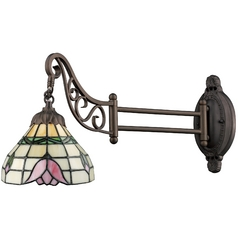 Swing Arm Lamp with Tiffany Glass in Bronze Finish