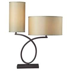 Modern Table Lamp with Gold Shades in Aged Bronze Finish