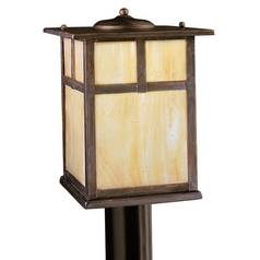 Kichler Post Light with Beige / Cream Glass in Canyon View Finish