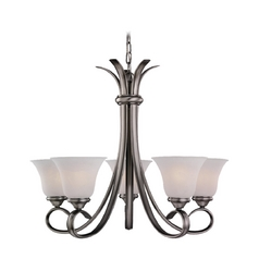 Chandelier with White Glass in Antique Brushed Nickel Finish