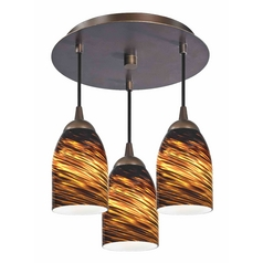 3-Light Semi-Flush Ceiling Light with Dome Art Glass - Bronze Finish