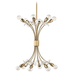 Mid-Century Modern Brass Chandelier 12-Lt Cluster Light by Hudson Valley
