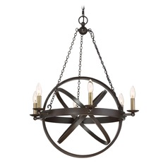 Mid-Century Modern Chandelier Bronze Eons by Quoizel Lighting