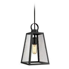Abbott Medium Pendant in Black with Chrome Mesh Panels